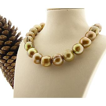 Gold-colored freshwater pearl necklace