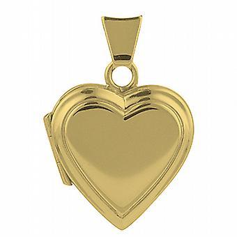 18ct Gold-17x17mm Klar flach herzförmige Medaillon