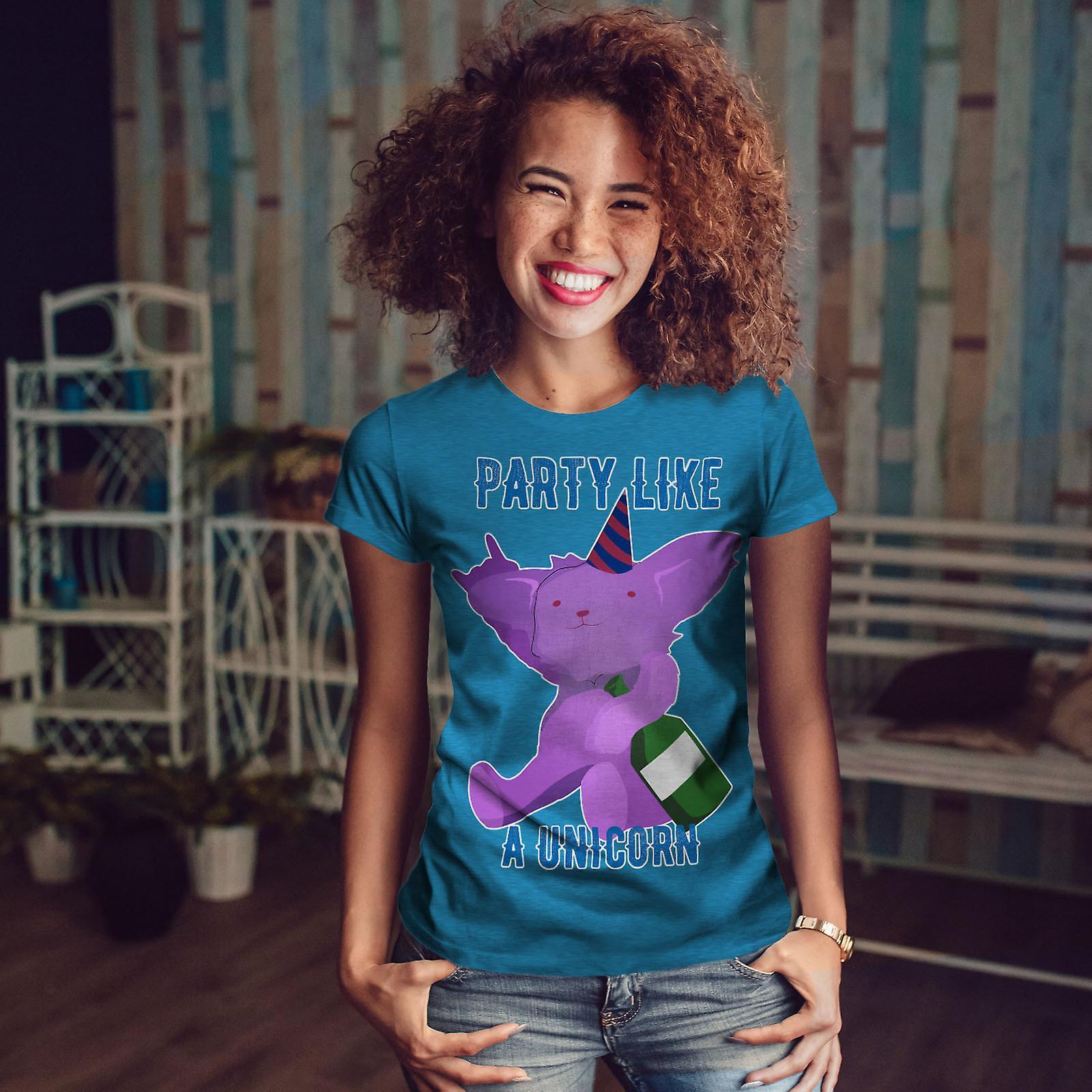 Partie Licorne blague Royal BlueT-chemise femme | Wellcoda