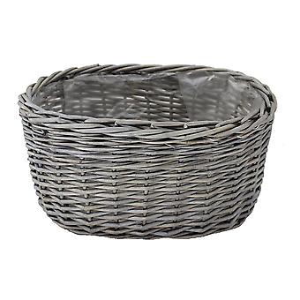 Large Oval Antique Wash Wicker Planter