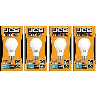 4 X JCB führte 15 Watt Schraubverschluss GLS Warm Weiß 3000K 100W Ersatz ES E27 LED Lampe [Energieeffizienzklasse A +]