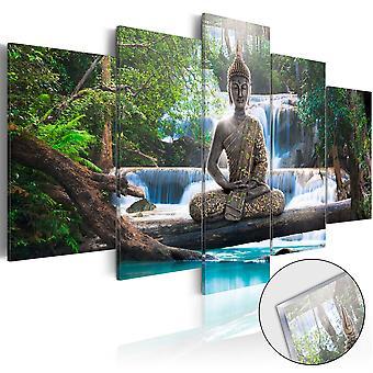 Quadri su vetro acrilico - Buddha and Waterfall [Glass]