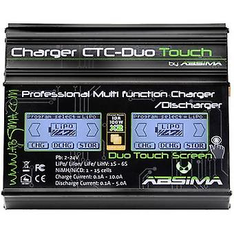 Scale model battery charger 110 V, 230 V 10 A Absima CTC-Duo Touch Lead-acid, LiFePO, Li-ion, LiPolymer, NiCd, NiMH