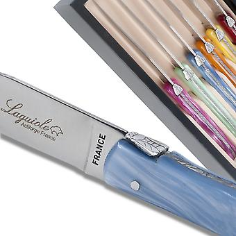 Set of 6 Laguiole steak knives plexiglass assorted color handles Direct from France