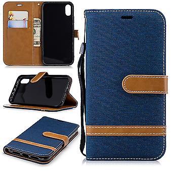 Apple iPhone obudowy XR telefon komórkowy pokrowiec ochronny portfel przypadku posiadacz karty niebieski