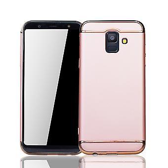 Handy Hülle Schutz Case für Samsung Galaxy A6 2018 Bumper 3 in 1 Cover Chrom Rose Gold