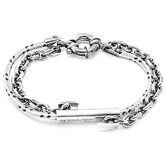 Anchor and Crew Belfast Silver and Rope Bracelet - Grey Dash
