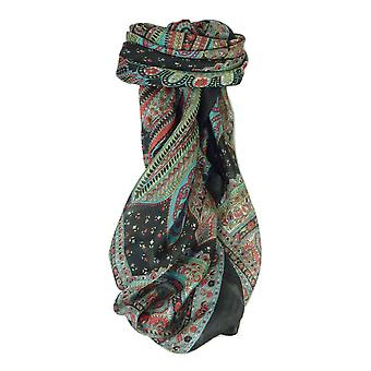 Mulberry Silk Traditional Square Scarf Zilli Black by Pashmina & Silk