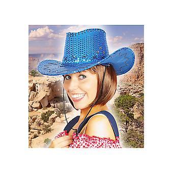 Kowbojski kapelusz kapelusze brokat niebieski deluxe