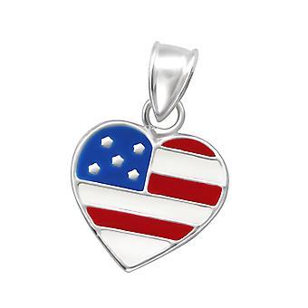 W13773X de corazón - plata de ley 925 + Epoxy color colgantes - Estados Unidos