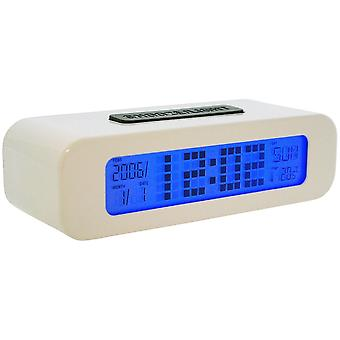 Snooze-light Multi-Functioning White Digital Alarm, Temperature Day & Date Clock  5336W