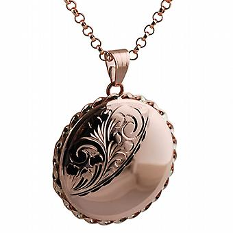 9ct Rose Gold 31mm round half engraved twisted wire edge flat Locket with belcher Chain 16 inches Only Suitable for Children