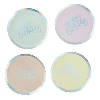 Pastel part afværget Happy Birthday paptallerkener x 8