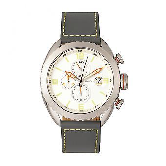 Morphic M64 serie Chronograph skinn-bånd Ur med dato - sølv/grå