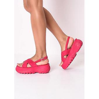 Oversteken van de stevige Platform sandalen Fuchsia Roze
