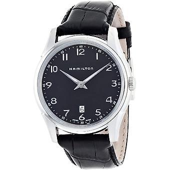 Hamilton analoog quartz vrouw horloge met zwarte leren riem H38511733