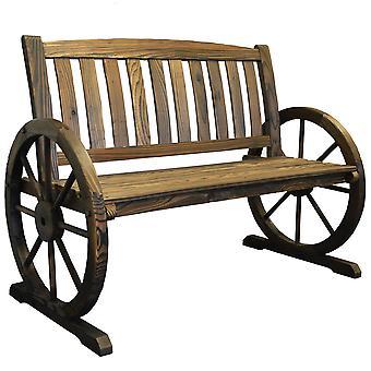 Garden Cartwheel Bench 2 Seater - Outdoor Solid Wood