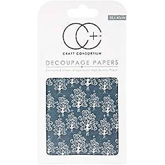 Craft Consortium Silver Trees Decoupage Papers
