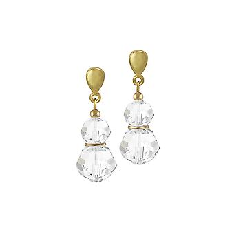 Eternal Collection Echo Clear Austrian Crystal Gold Tone Drop Clip On Earrings