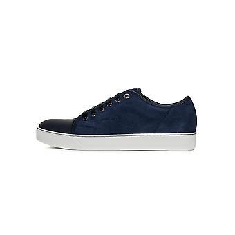 Lanvin Navy Sliced Nubuck Toe Cap Sneakers