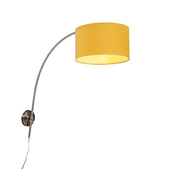 QAZQA Wall Arc Lamp Steel with 35/35/20 Cylinder Maize Shade
