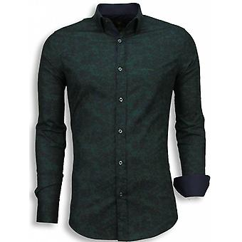 E Shirts - Slim Fit - Camouflage - Green