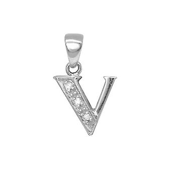 Jewelco London 9ct White Gold Pave Set Round H I2 0.02ct Diamond Identity Dainty Initial ID Charm Pendant Letter V