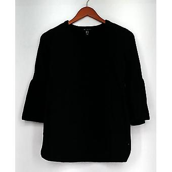 H by Halston Sweater V-neck Bell Sleeve Sweater Tunic Black A297074