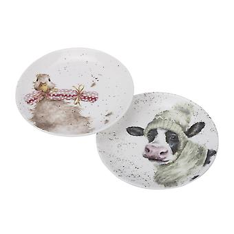 Wrendale Designs Set of 2 Coupe Plates, Cow and Duck