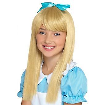Peluca de cabello largo Rubio accesorio peluca de princesa de país de las maravillas Wonderland princesa carnaval