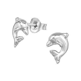 دولفين - 925 ستيرلينغ فضة عادي الأذن ترصيع - W14796x