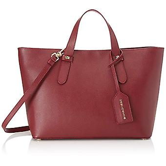 Borbonese Shopping C/t Red Woman Shoulder Bag (Burgundy) 33x25.5x12 cm (W x H x L)