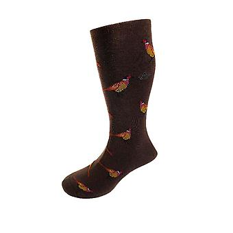 Pheasant motif soft cotton socks – mocha