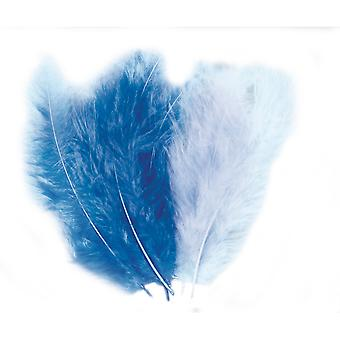 15 Assorted Blue Fluffy Feathers for Crafts