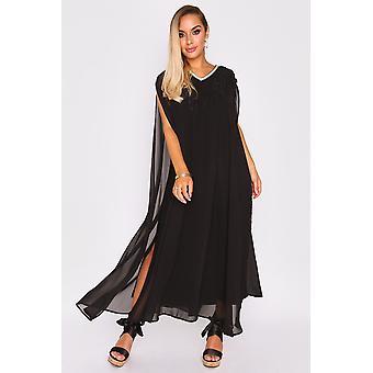 Kaftan ambre split sleeve layered maxi v-neck crystal dress in black