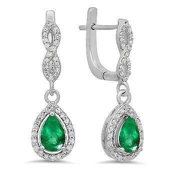 18K 7X5 MM Each Pear Lab Created Emerald & Round Diamond Ladies Drop Earrings, White Gold