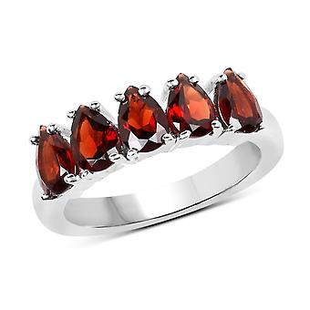 Dazzlingrock Collection Sterling Silver Pear Cut Garnet Ladies 5 Stone Bridal Engagement Ring