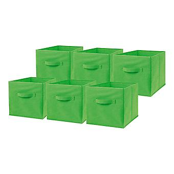 6 x Green Large Foldable Square Canvas Storage Box Collapsible Fabric Cubes Kids Home