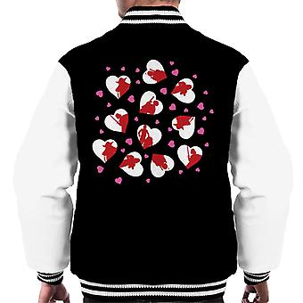 Star Wars Pink Hearts White Character Silhouette Men's Varsity Jacket