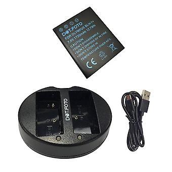Dot. foto BLH-1 udskiftningsbatteri 1720mAh & hurtig Dual USB-oplader til Olympus [Se beskrivelse af kompatibilitet]