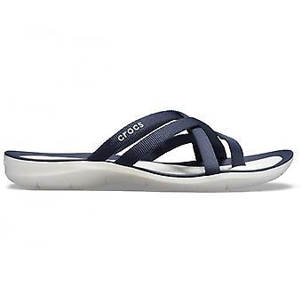 Crocs 205479 Swiftwater Webbing Flip Ladies Sandals Navy/bianco