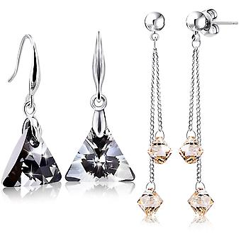2 earrings for women with swarovski crystal. rhodium plated. by 2splendid. gift box included. eeqz009