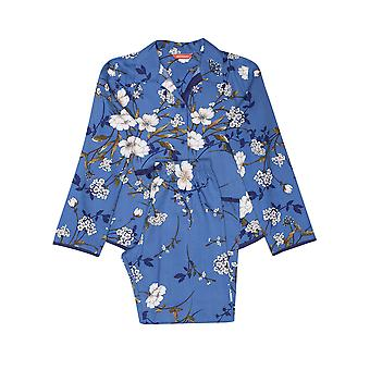 Minijammies 5529 Girl's Heather Blue Floral Print Cotton Woven Pyjama Set