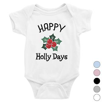 Happy Holly Days Funny Christmas Baby Bodysuit Gift Idea