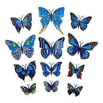 12st Blue Decorative 3D Butterflies in Paper for Walls