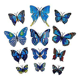 12pcs Blue Décoratif papillons 3D en papier pour les murs