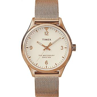 Timex TW2T36200 Waterbury traditionelle Rose Gold Ton Armbanduhr Mesh