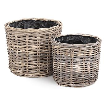 Set of 2 Rattan Round Planter with Plastic Lining