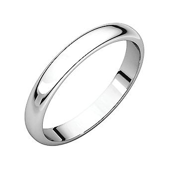 925 Sterling Silver 3mm Half Round Band Ring Size 9 Jewelry Gifts for Women - 2.1 Grams