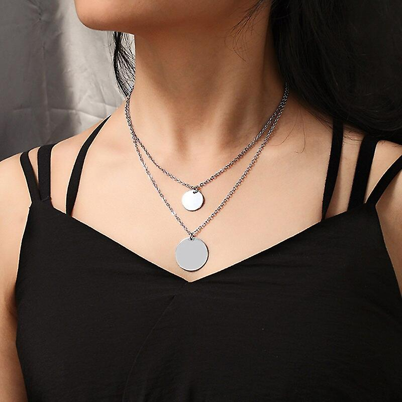 Silver Layered Double Disc Pendant Necklace